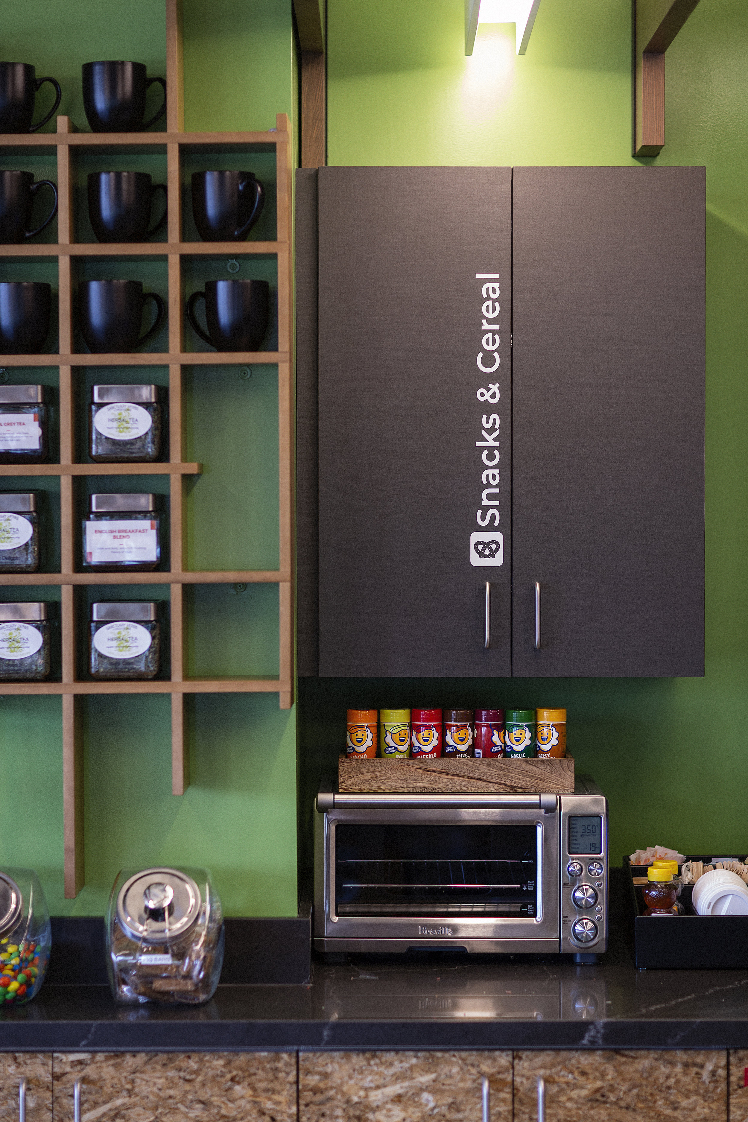 Kitchens stocked with Coffee, tea, sparkling water, and, snacks!