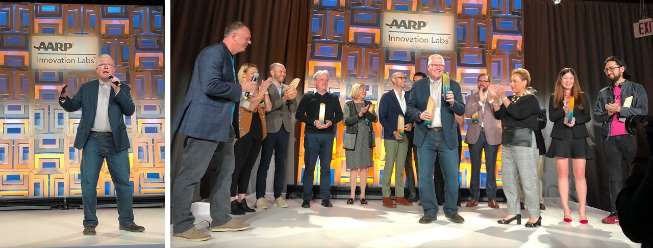 NEWS - Cambridge, Massachusetts -   Jo Ann Jenkins, CEO of AARP, hands first place award to Sunu founder, Dr. Fernando Albertorio at the 2019 AARP Innovation Labs Grand Pitch Finale in Washington D.C.