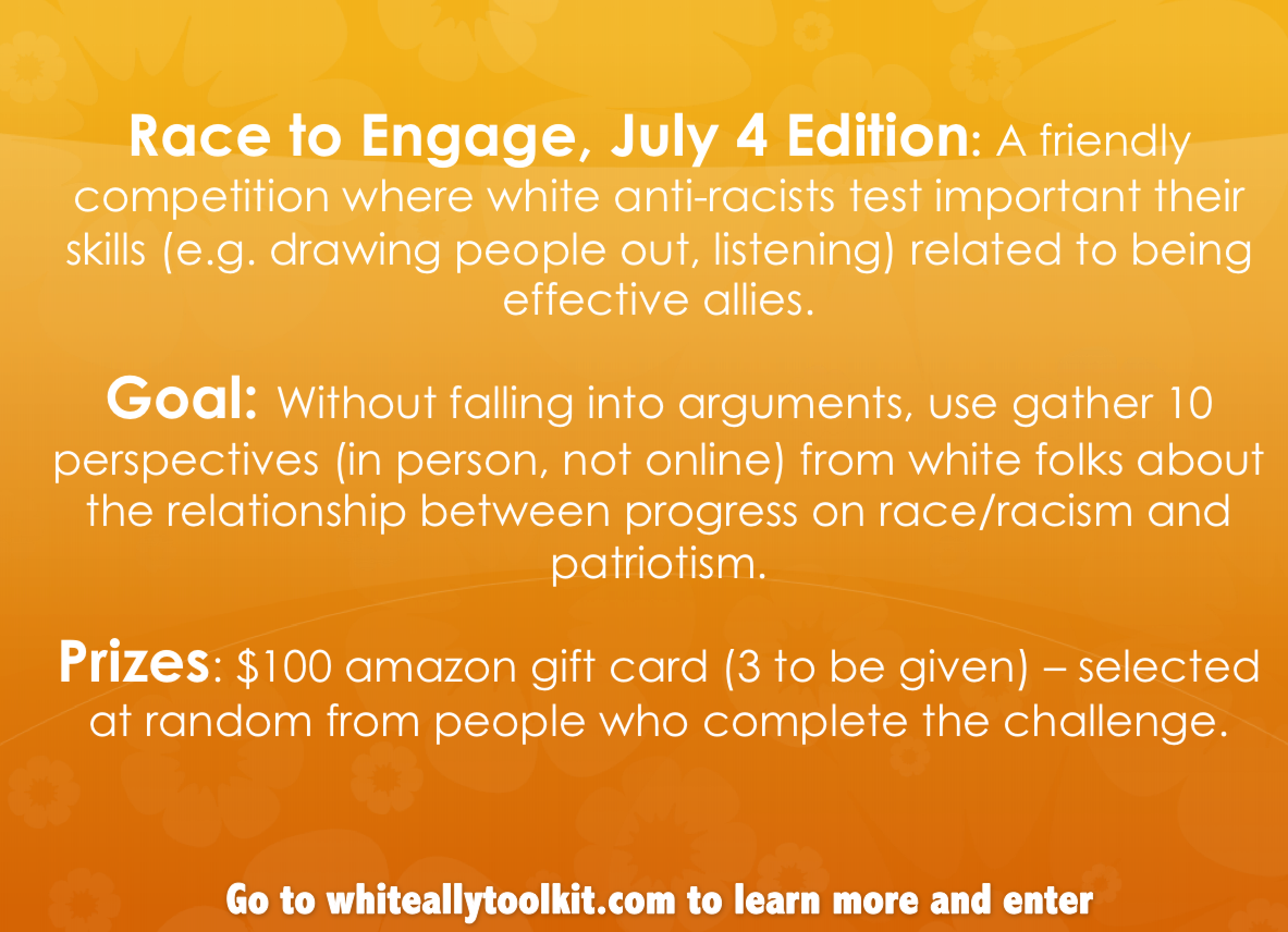 To get more guidance about the Race to Engage Challenge, go to the website landing page.