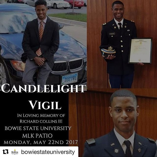 Vigil tonight for Richard Collins. Collins was fatally stabbed while visiting the University of Maryland this weekend. His murder is being investigated as a #hatecrime.