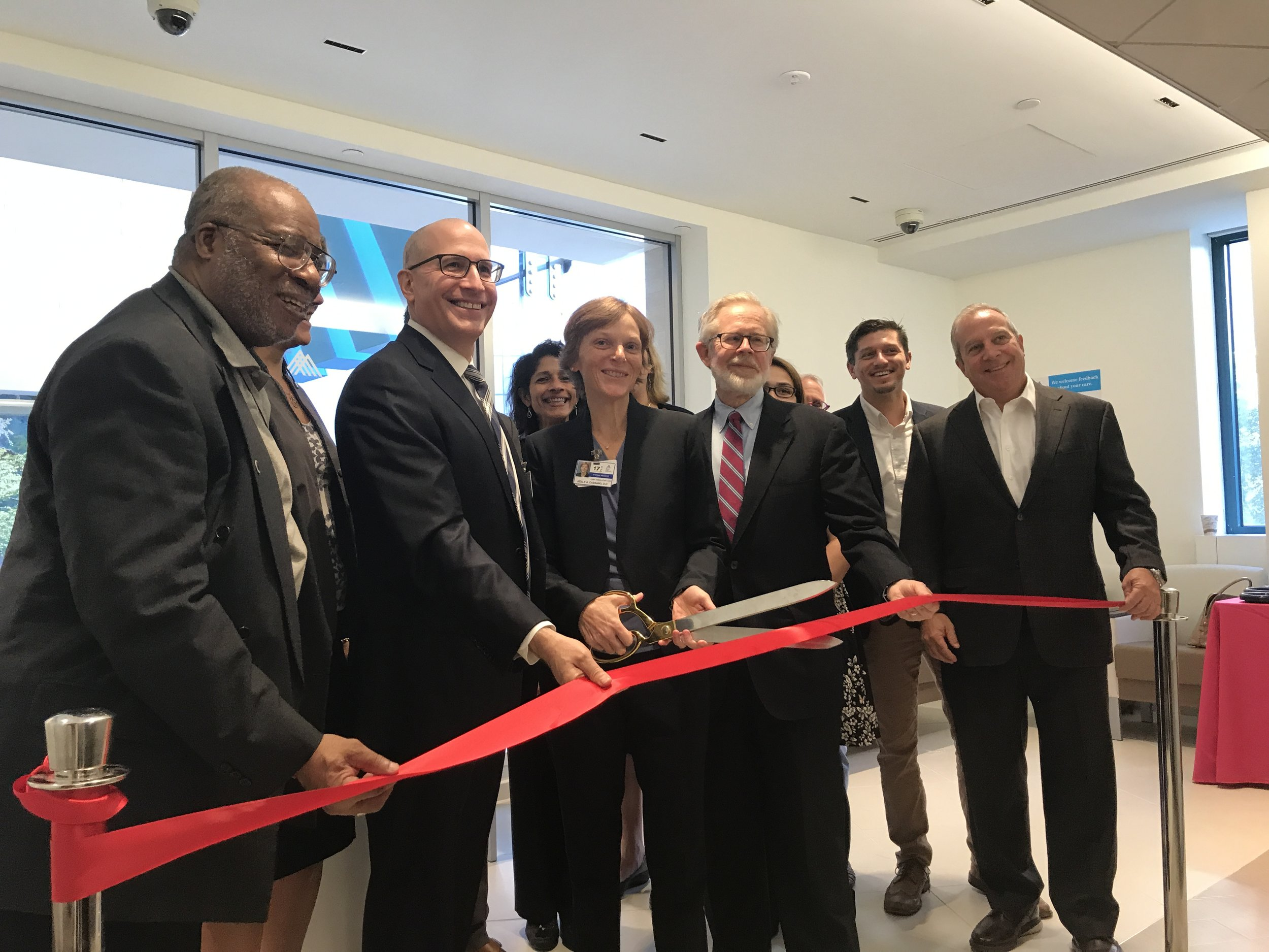 Jeremy Boal, M.D.,President of Mount Sinai Downtown is joined by his team and community members to celebrate the opening of the new Urgent Care Center in Union Square.