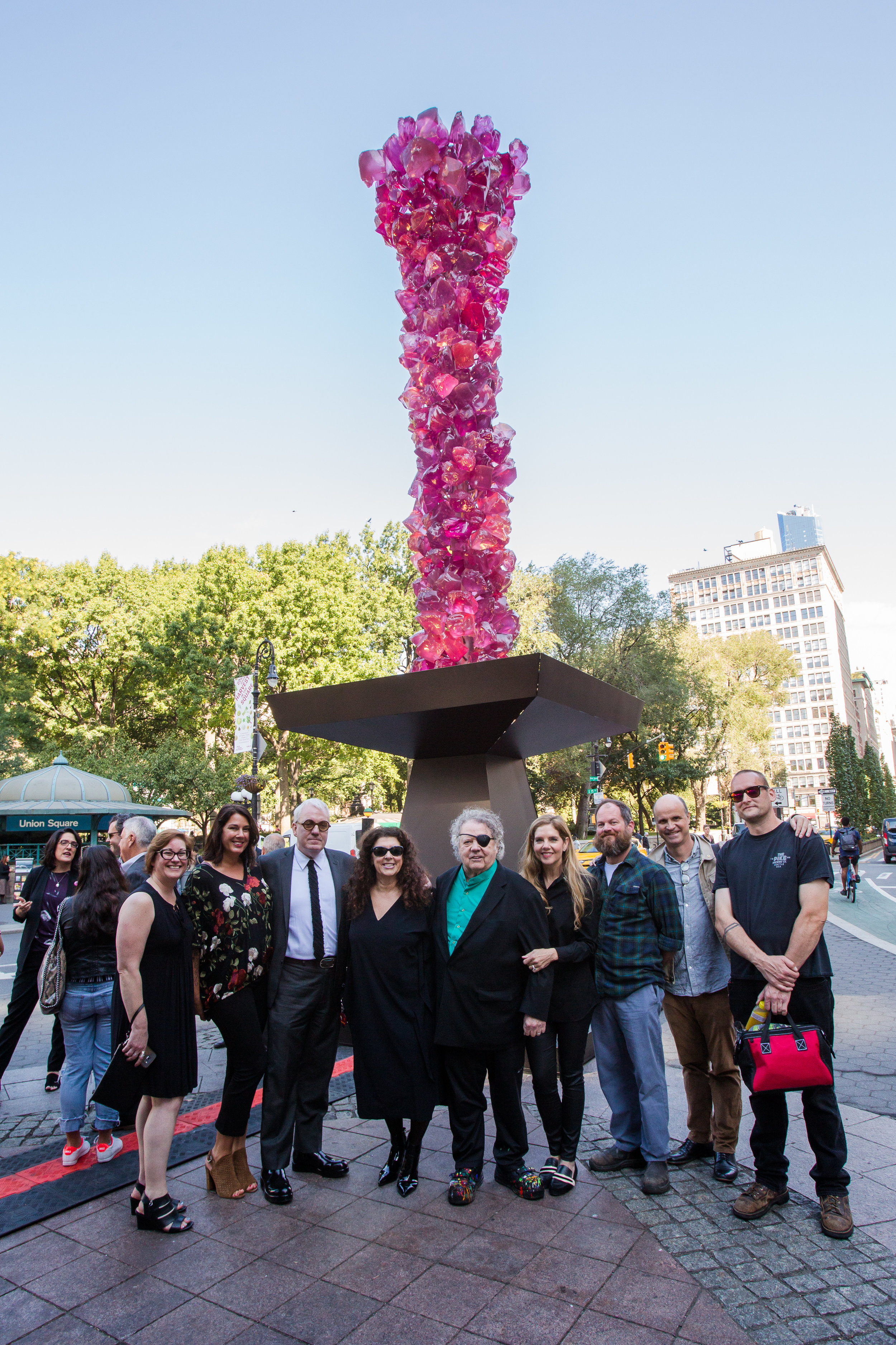 Chihuly Studio team in New York for the Rose Crystal Tower debut in Union Square.