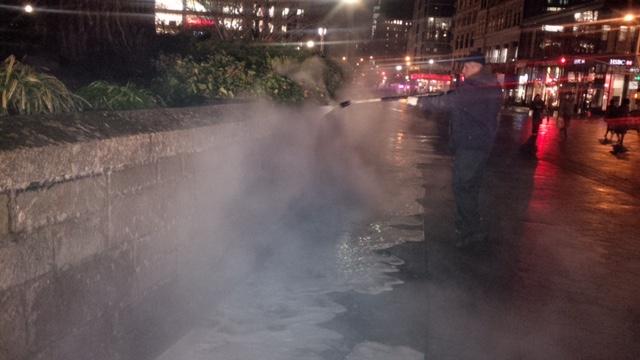 Powerwashing Park Walls in April.jpg