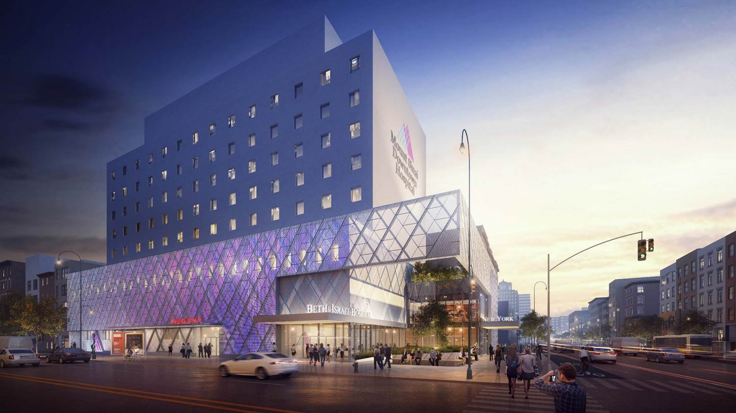 Rendering of the new Mount Sinai Beth Israel Hospital located at 14th Street and Second Avenue. Image Source: Mount Sinai Health Systems