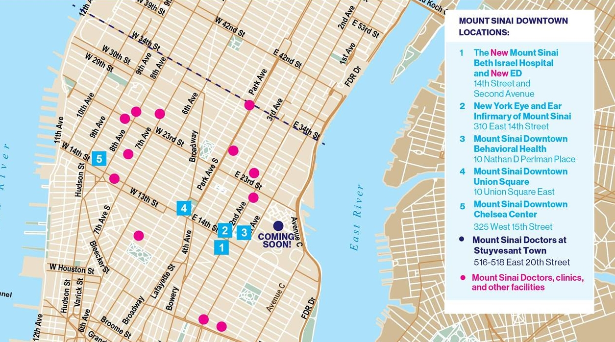 """Mount Sinai Downtown aims to create a """"river-to-river"""" network of health facilities. Several are located in proximity to Union Square. Image Source: Mount Sinai Health Systems"""