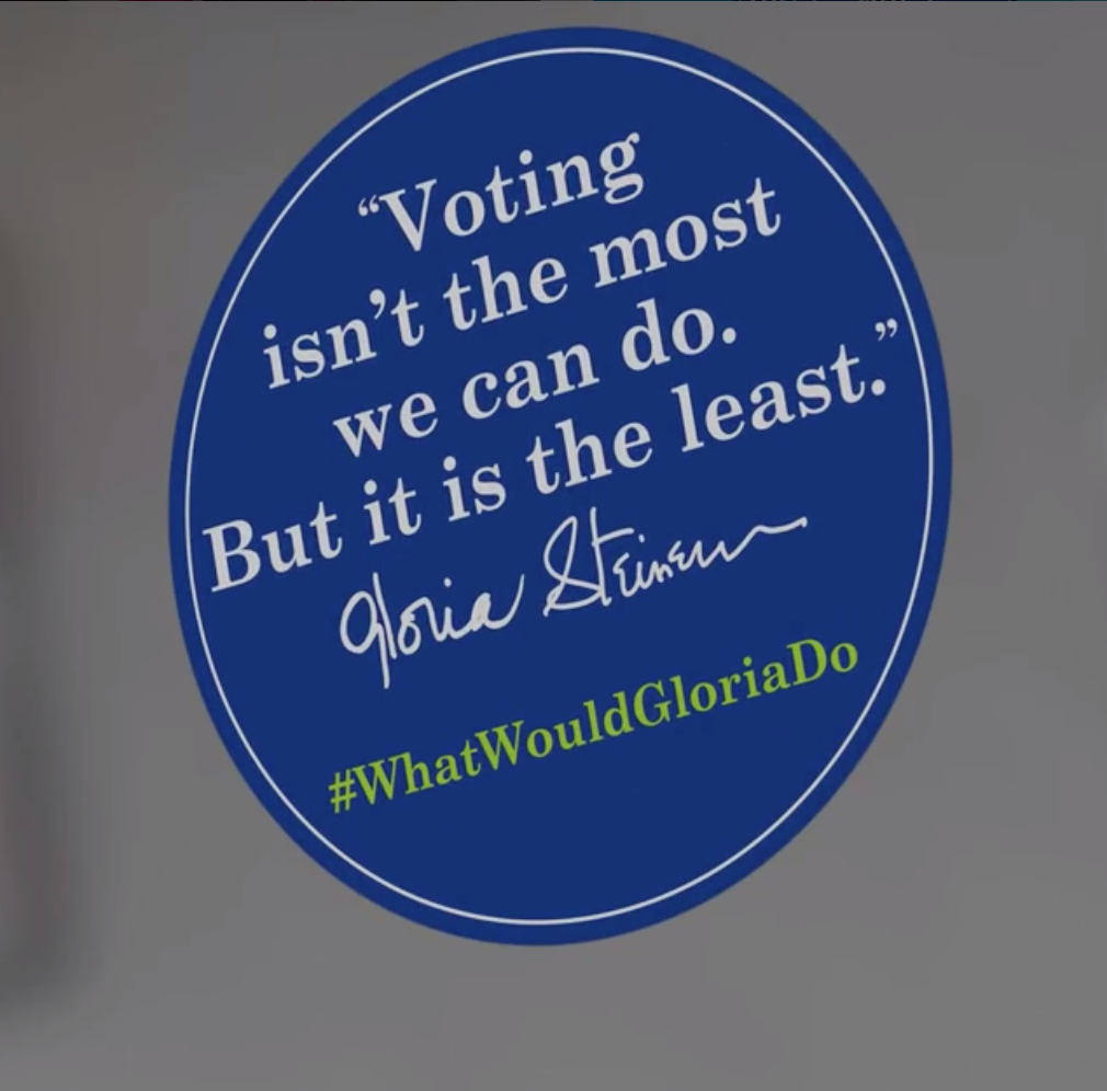 Voting stickers from Gloria: The Life at the Daryl Roth Theatre