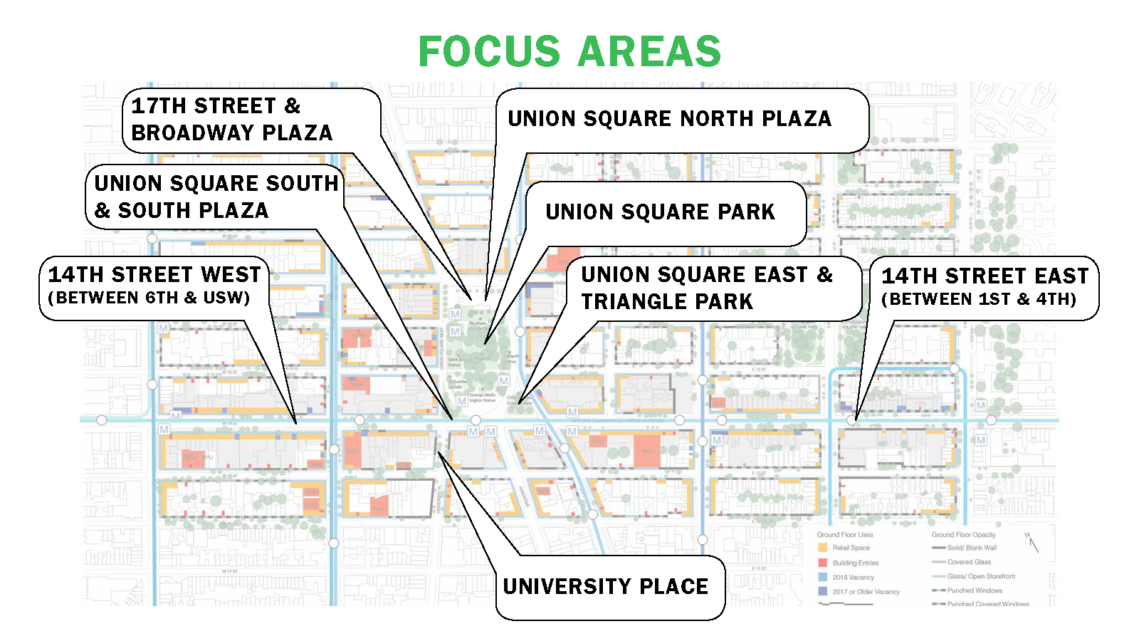Map of Focus Areas discussed at the Community Forum
