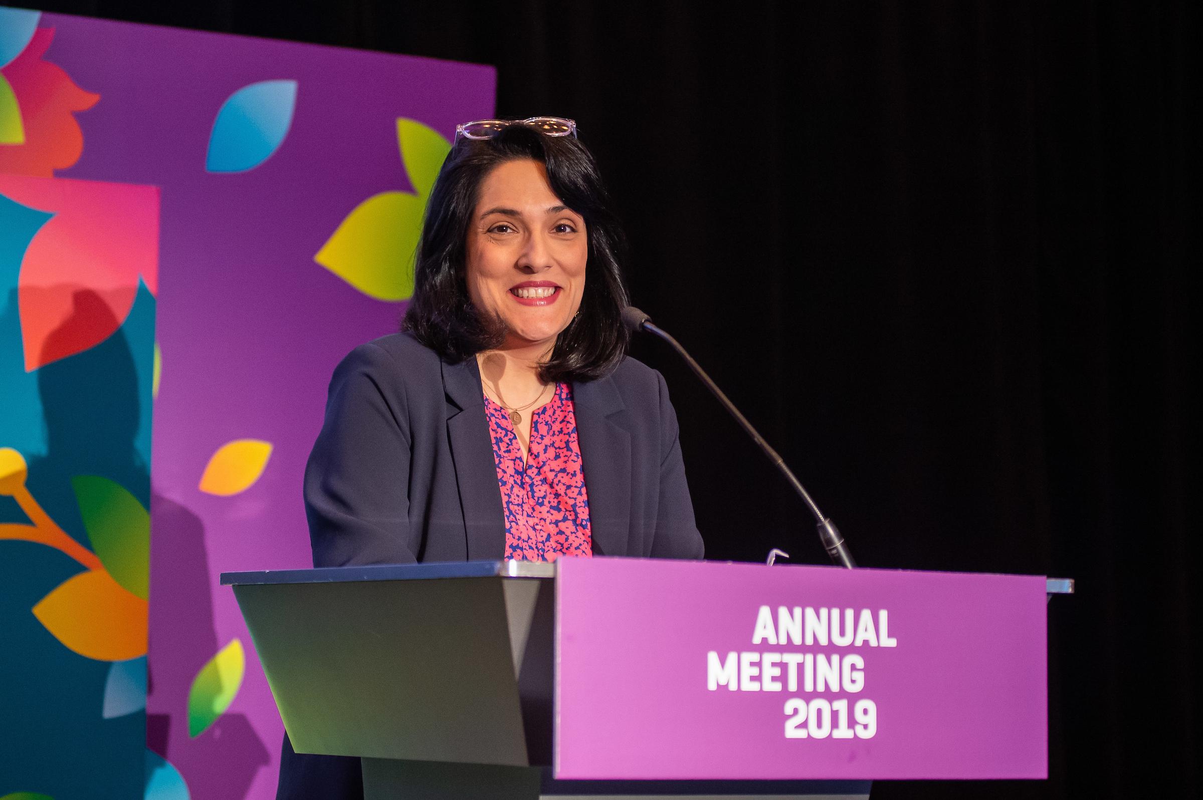 USP Executive Director Jennifer Falk gives the 2019 Annual Report