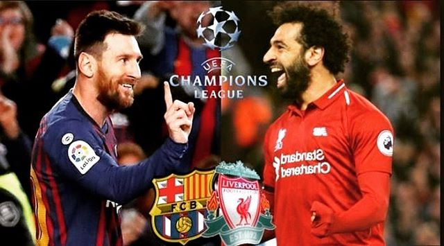 Messi or Salah who will walk with a smile, join us @emblem_bk to watch live action at 3 pm EST #championsleague #messi #mosalah #fcbarcelona #liverpool #messisalah