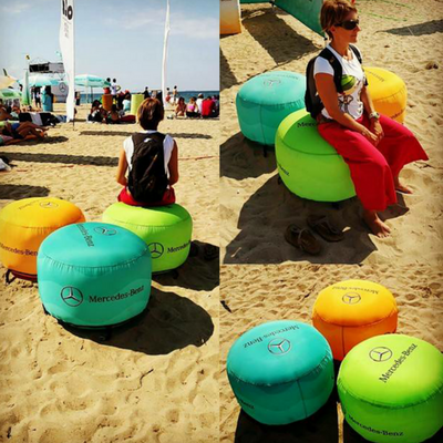 Inflatable ottomans - perfect for the beach
