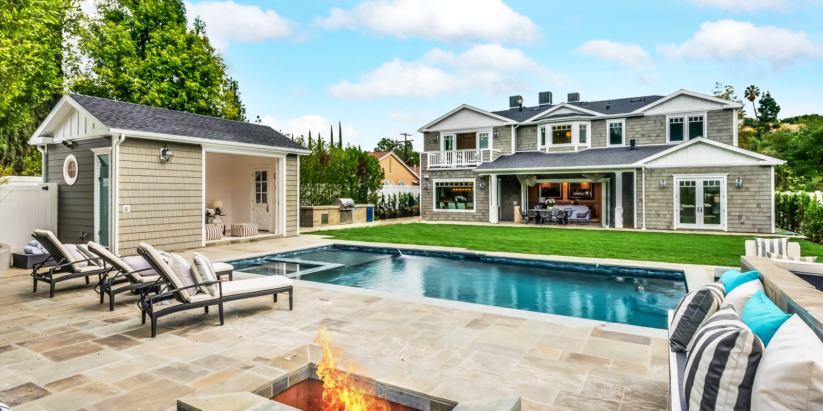 BALLINA DRIVE | ENCINO   An exquisite gated New Construction gem with expansive valley views! This luxury detailed home is a 6 bedrooms, 7.5 bath custom build.
