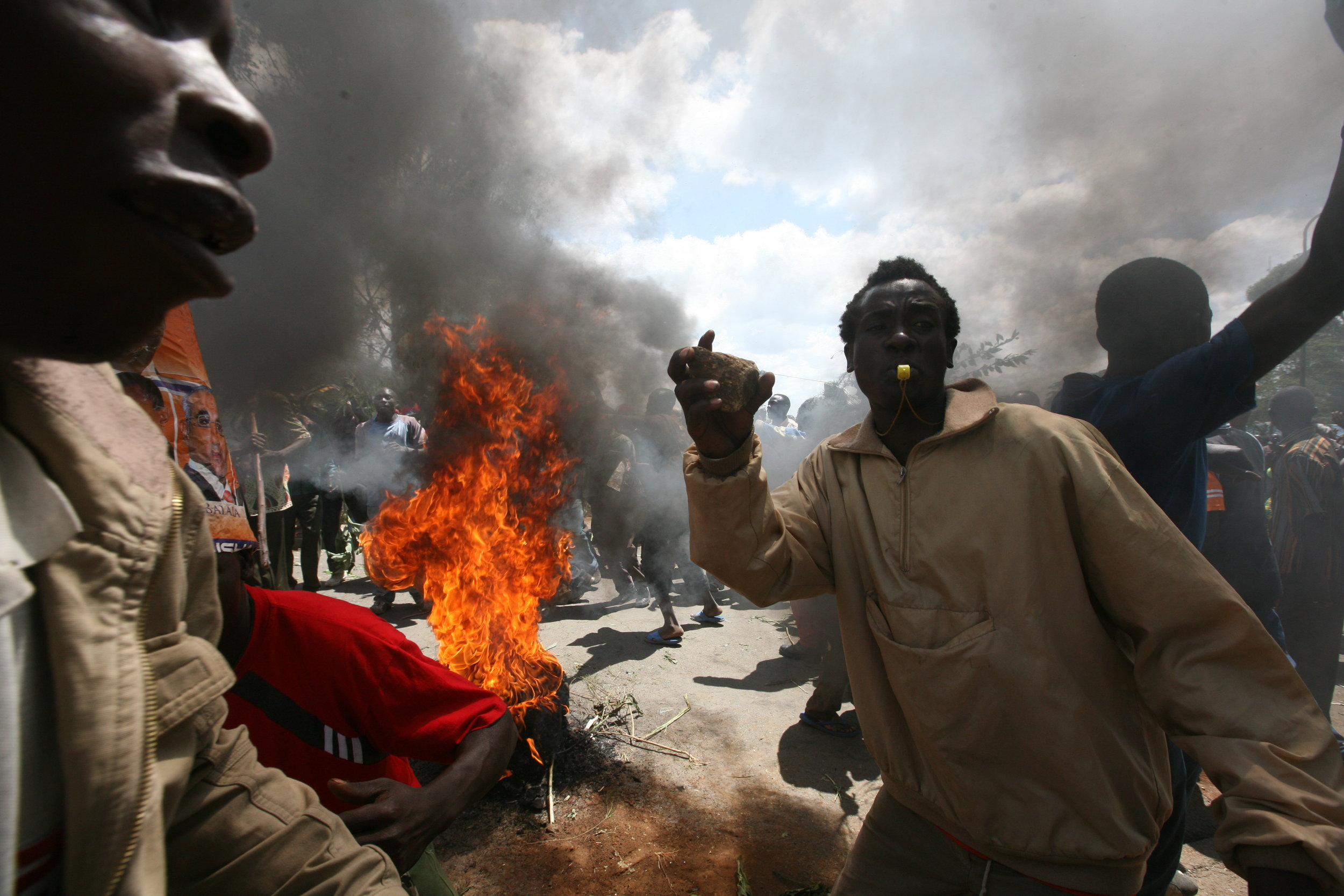 Thousands of opposition supporters in Kibera, a slum of one million people, riot to protest the results of the presidential election and vow to inaugurate their leader.