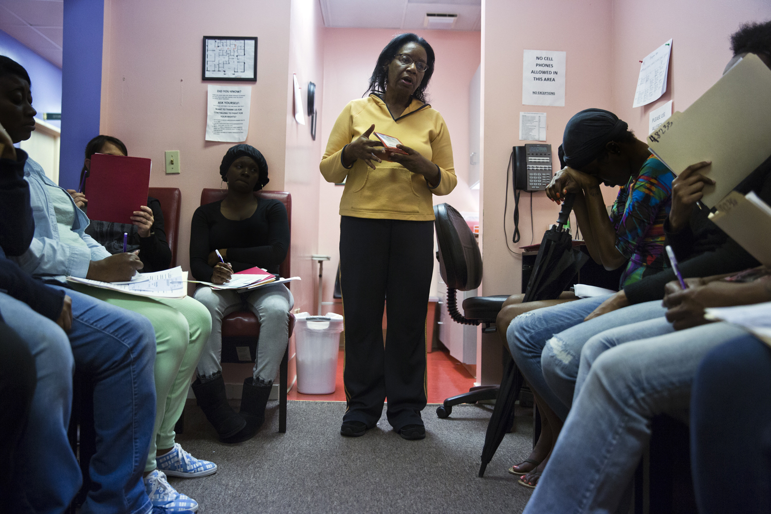 Miss Betty conducts a state mandated counseling session at the Jackson Women's Health Organization, to women considering abortion.