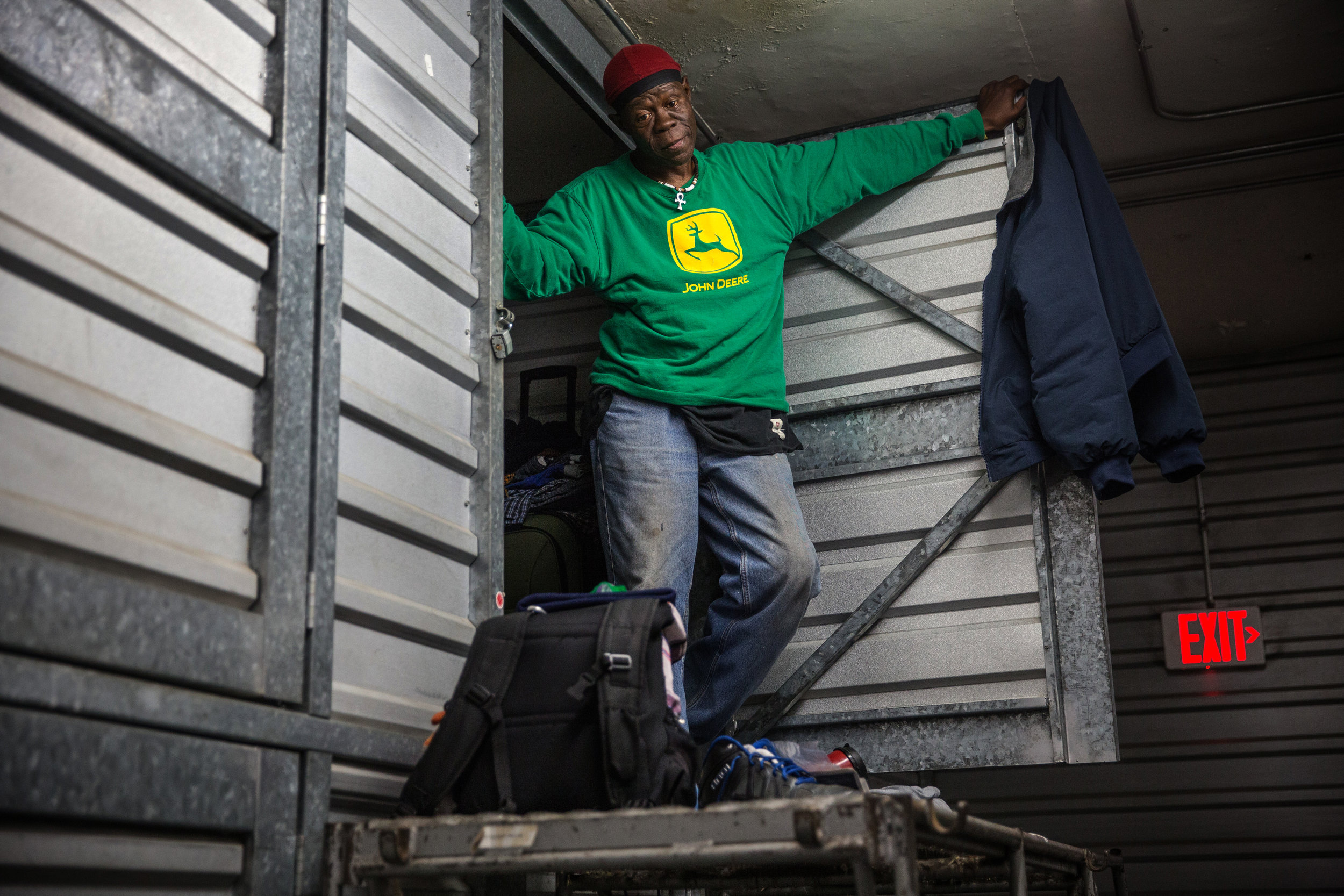 Tony Brown, 54, in his storage unit at Capital Self-Storage.