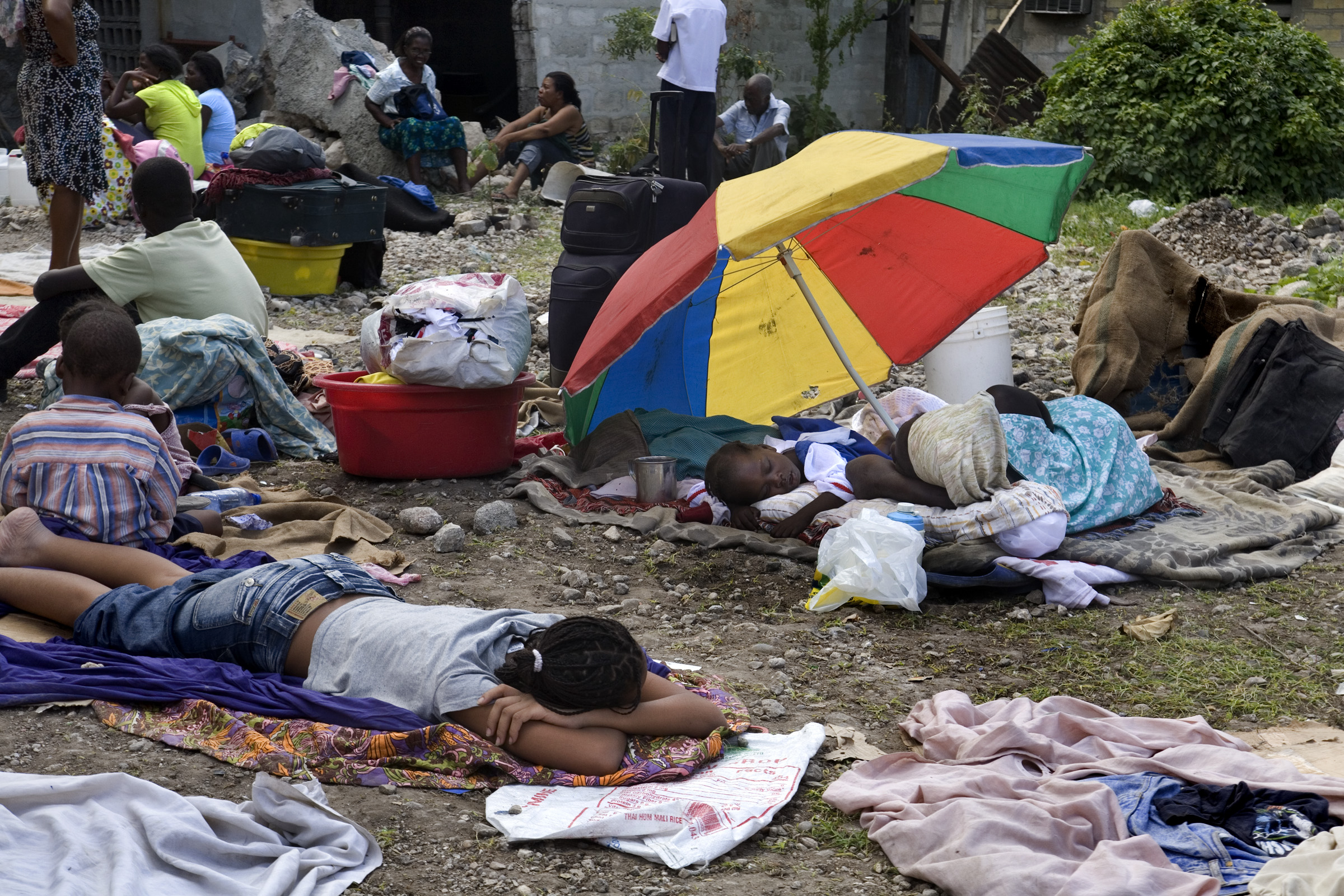 Displaced people at the Adventist Auditorium in Port-au-Prince.