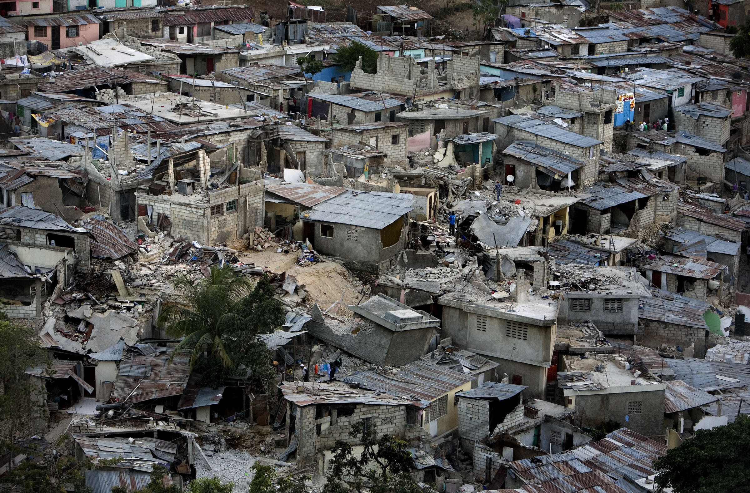The destruction of Haiti's hillsides following the devastating earthquake.
