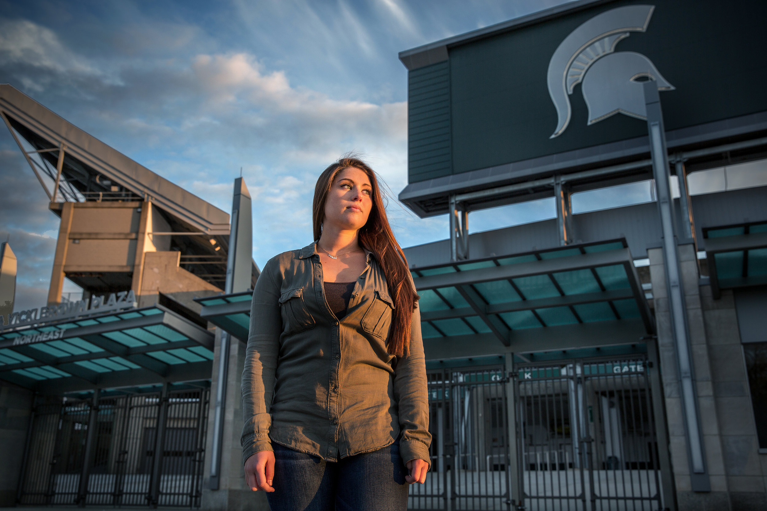 "Rachel Sienkowski, 21, is a junior at Michigan State University. In the fall semester of her freshman year, she was at a tailgate party before a football game. She said she had one or two drinks, and then a guy she didn't know approached her and they started talking. The mext thing she remembers, was waking up in her dorm room with him and a cut on her head. She has a brief memory of him being on top of her, but can't remember much more. She was taken to the hospital to get staples for the wound on her head; the hospital did a rape kit and police took her statement, but nothing ever came of it. She isn't sure whether the sex was consensual or rape. She also said she'd been coerced into sex in other situations, including with an ex-boyfriend who ignored her verbal ""no""."