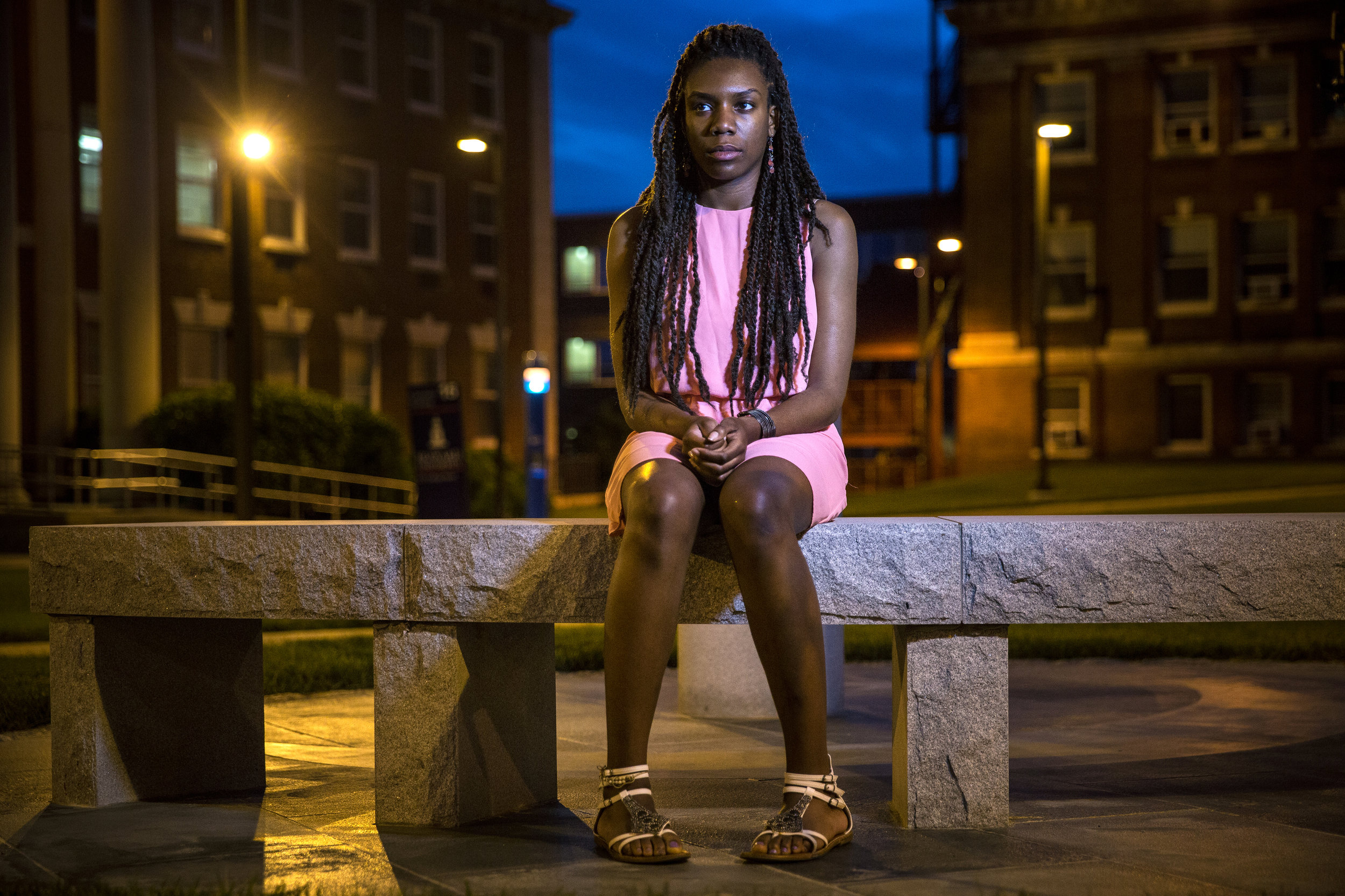 "Mikala Burt, a junior at Howard University, was sexually assaulted. Some guys she hadn't met before were hanging at a friend's house in Upper Marlboro, and she had a beer or two, just to be polite, wishing she weren't there. Then she realized, annoyed, that her friend was too drunk to drive her back to her dorm at Howard University. She decided just to try to get some sleep, and didn't think twice about curling up on a couch in the living room there; the father of one of the guys, who owned the house, was home at the time. She was confused when a man woke her up out of a deep sleep around 2 a.m. Her friend was asleep upstairs and this man was a friend of his whom she had never met before that night. He was over her on the couch and told her that her friend was asleep upstairs and that he wanted to have a good time. He told her he would pay her $100. That's when she snapped awake and, disgusted, told him to let her go. Her hands were up to protect herself, and he pinned her arms down, so hard that she couldn't shake him off.  She started screaming, but no one woke up. ""I wasn't even thinking about not getting away from him,"" she said, ""I was determined to fight my way out. I was more angry than scared – even though I was afraid – I was more angry that someone would try this and it was happening."" He was lying down on top of her and she somehow pulled a knee up quickly (""like a ninja"") and kicked him as hard as she could in the chest. ""He fell backward and I just ran."" She ran to a neighbor's house, called her sister and her roommate for a ride home, and called the police."