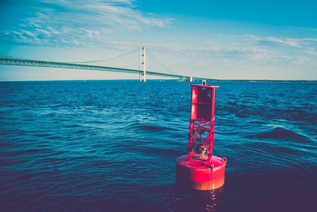 The Mighty Mac, Mackinac Bridge, Mackinaw Bridge, Buoy, Lake Michigan, Lake Huron, Water, Freshwater, Fresh Water, MI, Mitten