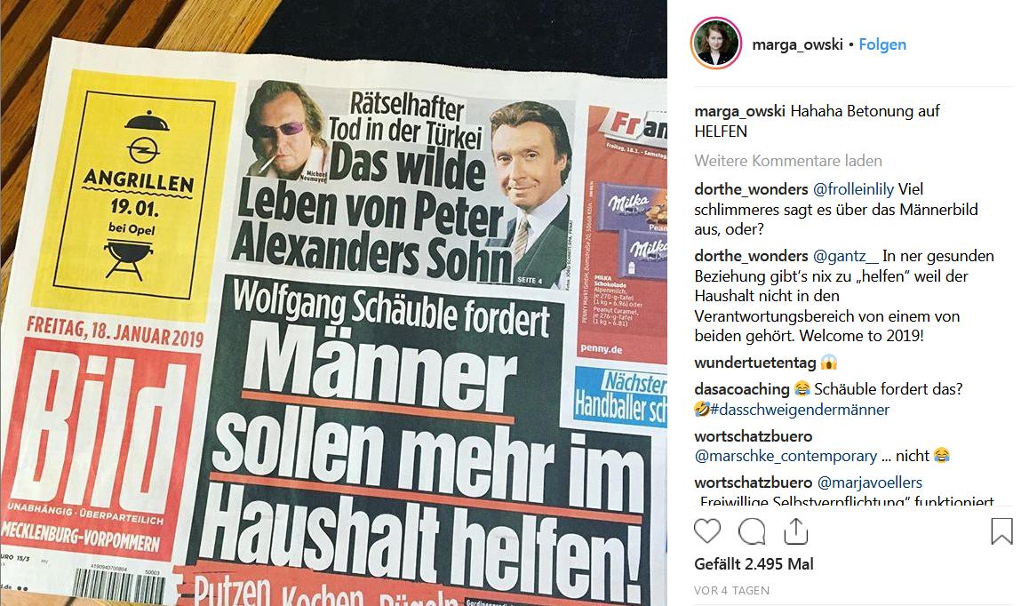 Instagram-Post von marga_owski : Foto der Titelseite der Bildzeitung vom 18. Januar 2019 mit der Schlagzeile: Wolfgang Schäuble fordert Männer sollen mehr im Haushalt helfen!