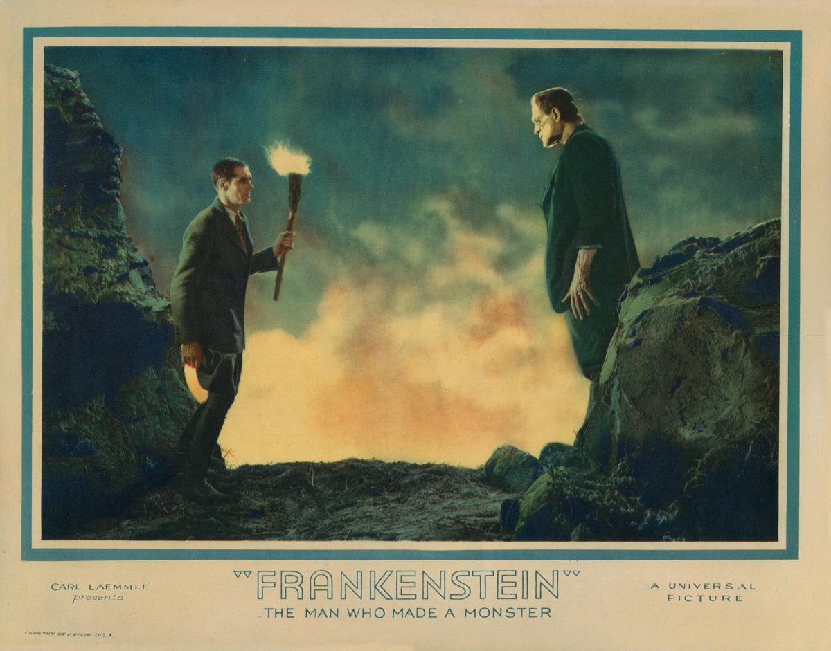Filmplakat der Frankensteinverfilmung von 1931; Der Forscher Frankenstein wird alleinerziehender Vater und schafft sich ein wissenschaftliches Baby. Es wird monströs.