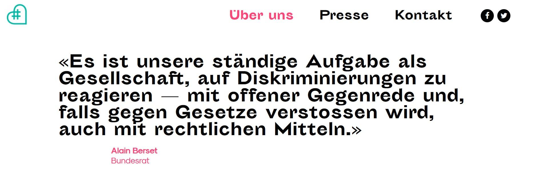 Screenshot der Startseite von  #netzcourage  - the hatespeech ambulance von Jolanda Spiess-Hegglin