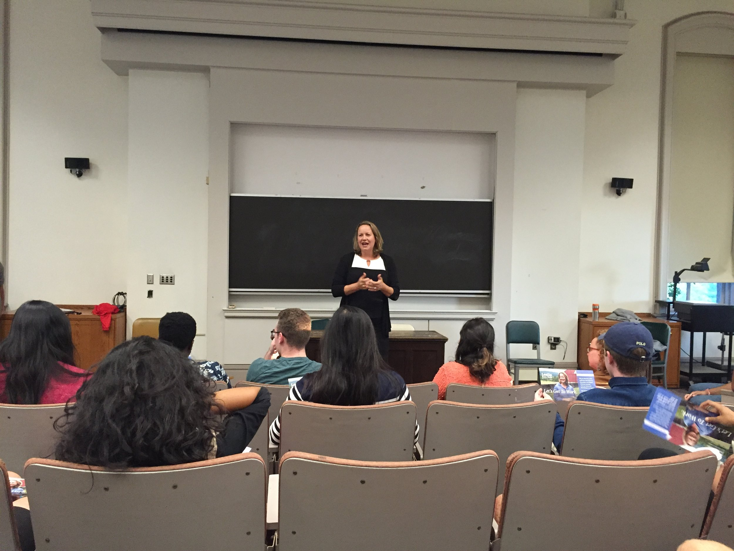 State Senate candidate Leslie Dank Burke speaking to the Cornell Dems about her campaign.