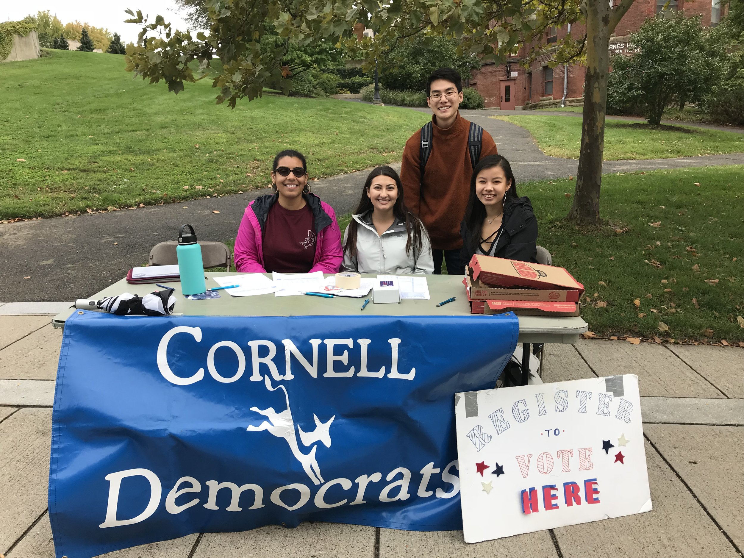 Cornell Democrats tabling during a biweekly voter registration drive leading up to the registration deadline