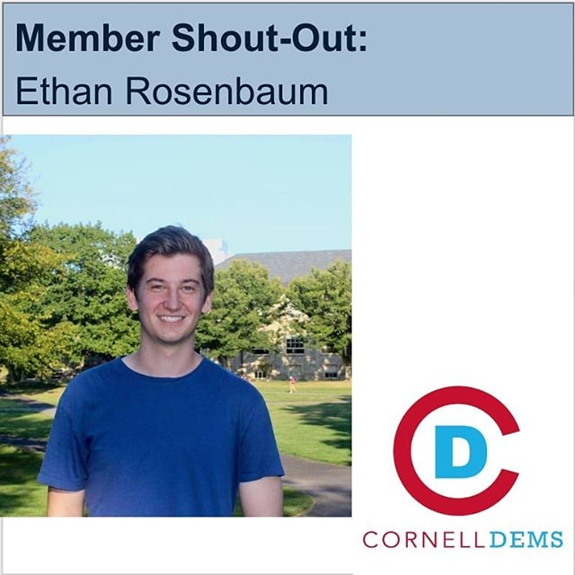 "Say hello to Ethan Rosenbaum, the subject of our second shout-out! ""What can I say but he's got it all: the wit, the wisdom, the wacky. He has been such a committed member, even from DC where he worked to change the world. Making me laugh from day 1, I will miss this person (ps he's a senior) who is a mentor to us all."""