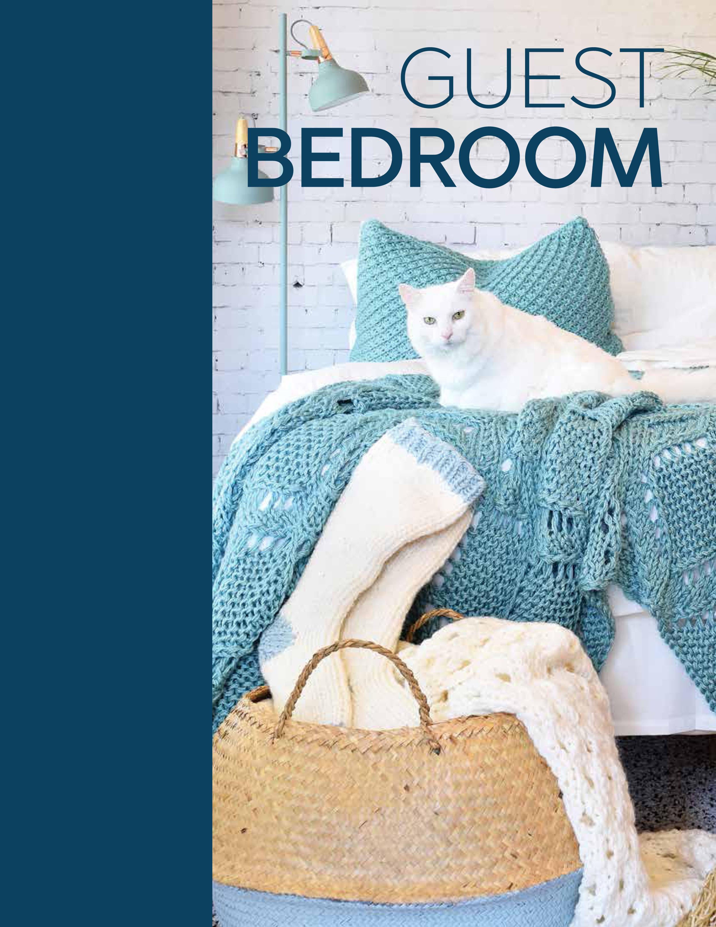 Guest Bedroom - Diamond Lace BlanketDaisy PillowcaseEyelet Throw BlanketCozy Slipper Socks