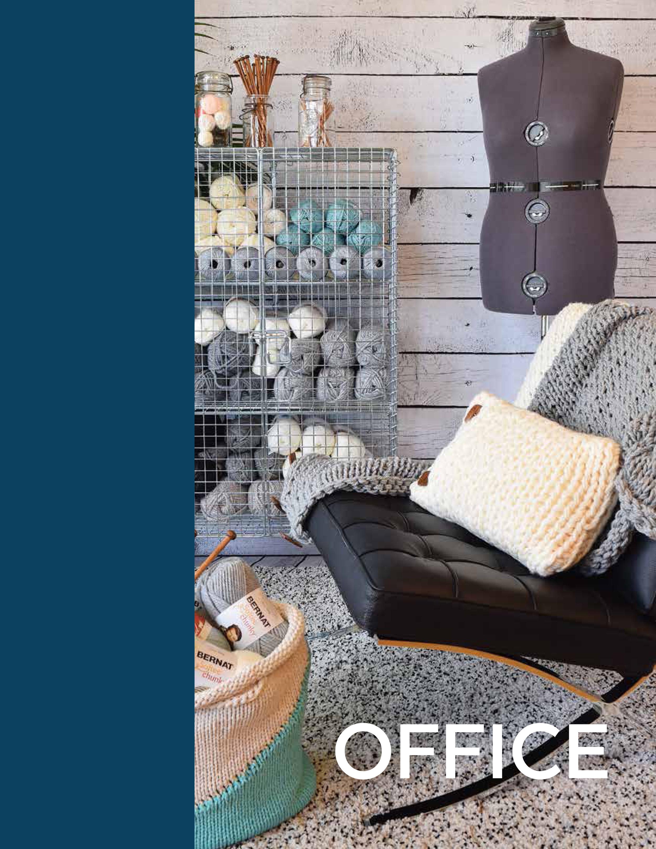 Office - Simple Stockinette Cocoon BlanketSimple Stockinette CushionSimple Stockinette Basket Bag
