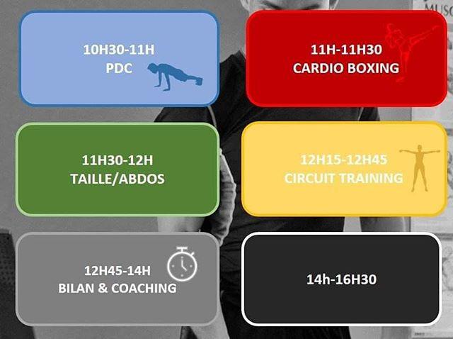 Comme tous les samedis, ta salle est ouverte de 9h30 à 16h30 sans pause ! Et désormais, tu peux suivre 4 cours collectifs animés par notre coach Hugo 🏋️♀️🥊👟 C'est juste en dessous 👇  Le week-end se mérite, on t'attend à la salle ! 🔥  #BoostFitness #Fitness #Chelles #Sport #Muscu #Cardio #Boxe #PoidsDuCorps #Motivation #SummerBody