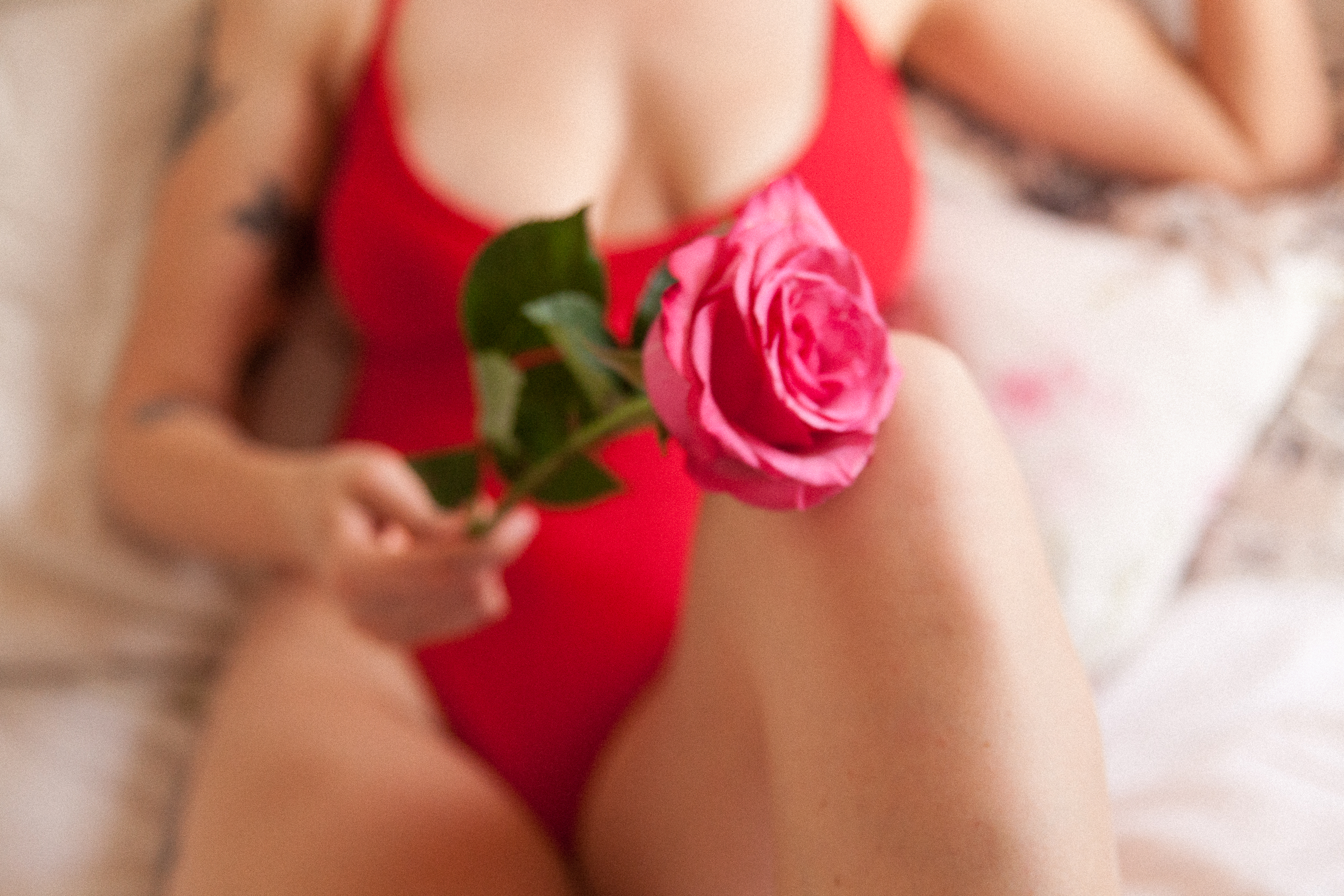 feminine portrait red lingerie pink rose soft sexy pictures