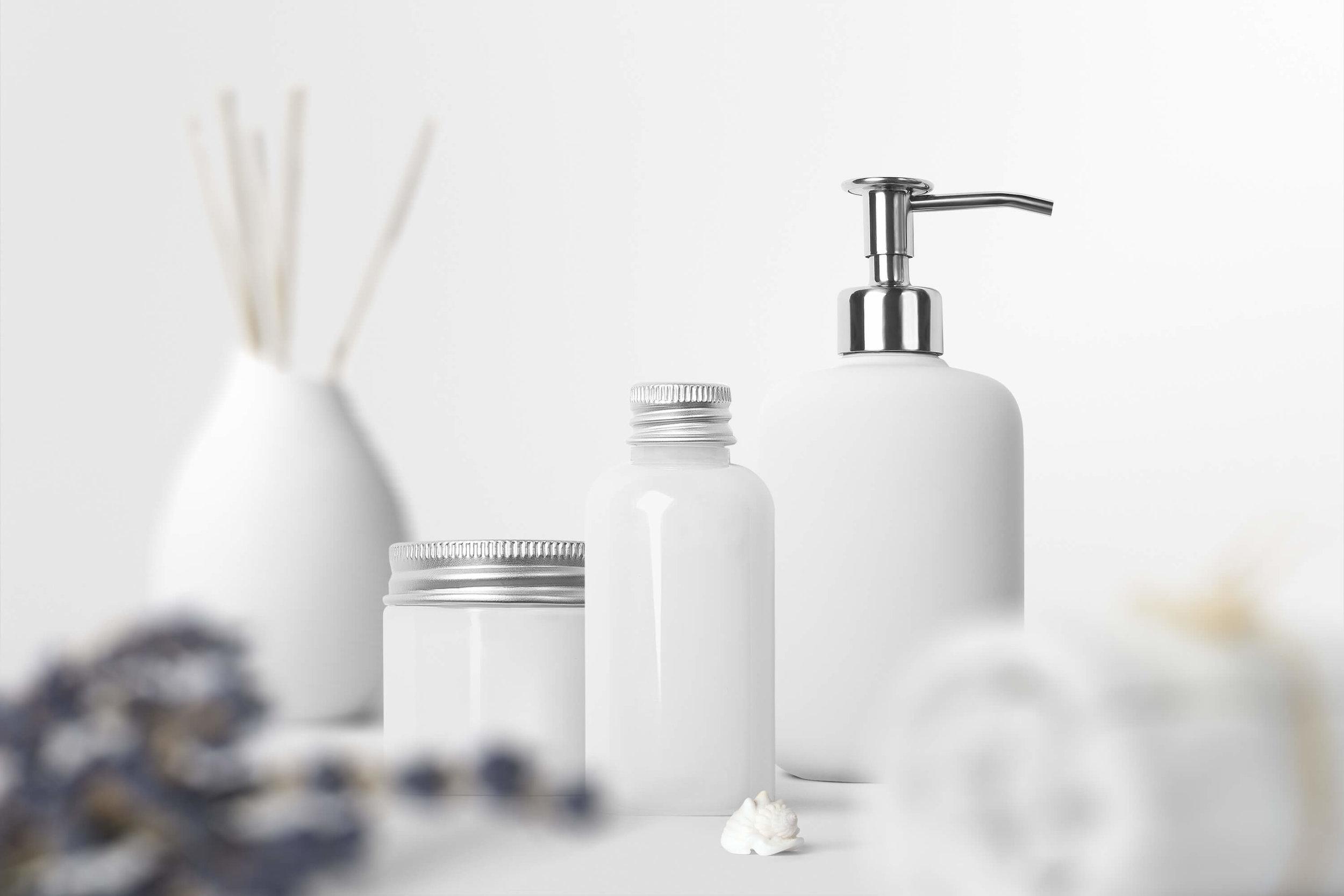 spa beauty packaging cosmetic package bottles jars transfers rub on color vu