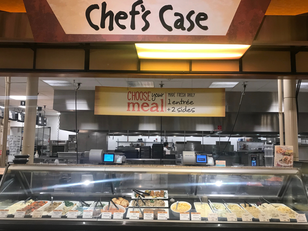 """Chef's Case - Wegmans pioneered the """"Groceraunt"""". A concept where you don't only sell fresh ingredients, but fresh meals as well.Chef's Case is where Wegmans sells freshly prepared, made to order meals, that consumers order at the beginning of their shopping trip and pick up at the end."""