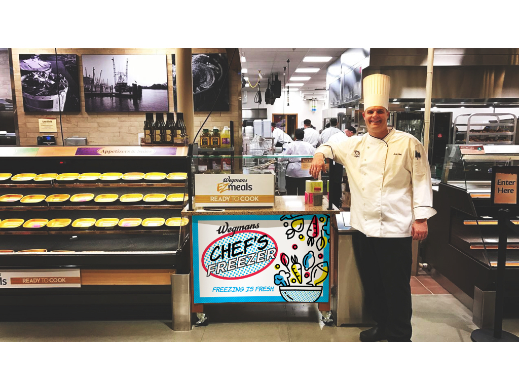Chef's Freezer - We will introduce a flash freezer into the Chef's Case section of Wegmans to take the same freshly prepared meals customers are currently buying and create a made to order frozen option.Customers will be able to pick an entree and two sides and have it flash frozen on the spot.