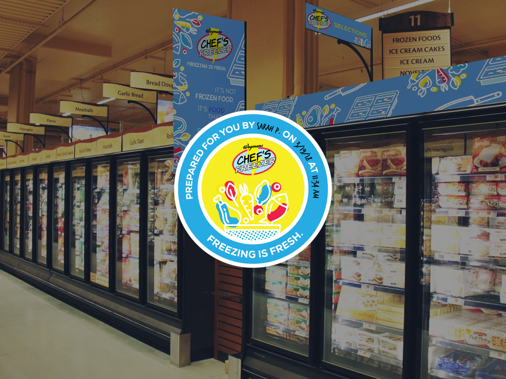 Freshly Frozen - A new line of fresh food frozen will also be available in the freezer aisle of Wegmans.To further emphasize it's fresh origins, we will create stickers, similar to the one's displayed on Lush products, that show who froze your food and what time it was frozen.