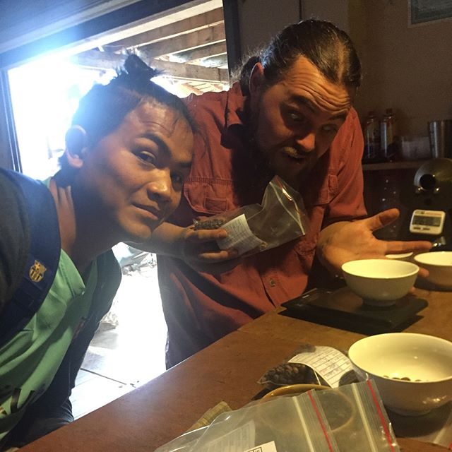 First cupping of the year done! My stomach was in as many knots as last year, but y'all the four coffees we tried today tasted awesome! Our farmers effort shows. Now let's pray for no moisture in the air and that we can not screw up storage. Can't wait to taste the rest of the coffees! We had flavors like green tea, strawberry, raspberry, nougat, cashew, chocolate and each was so unique. Thanks @jhaicoffeehouse for helping us, letting us work on your equipment and giving us your expertise, you guys rock! Laos coffee is truly amazing and I'm honored to get to watch it develop.