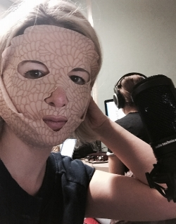Wearing Nannette de Gaspé's dry mask during recording