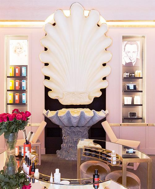 The Christophe Robin salon in Paris features a swank shell basin, a tribute to Botticelli's Birth of Venus