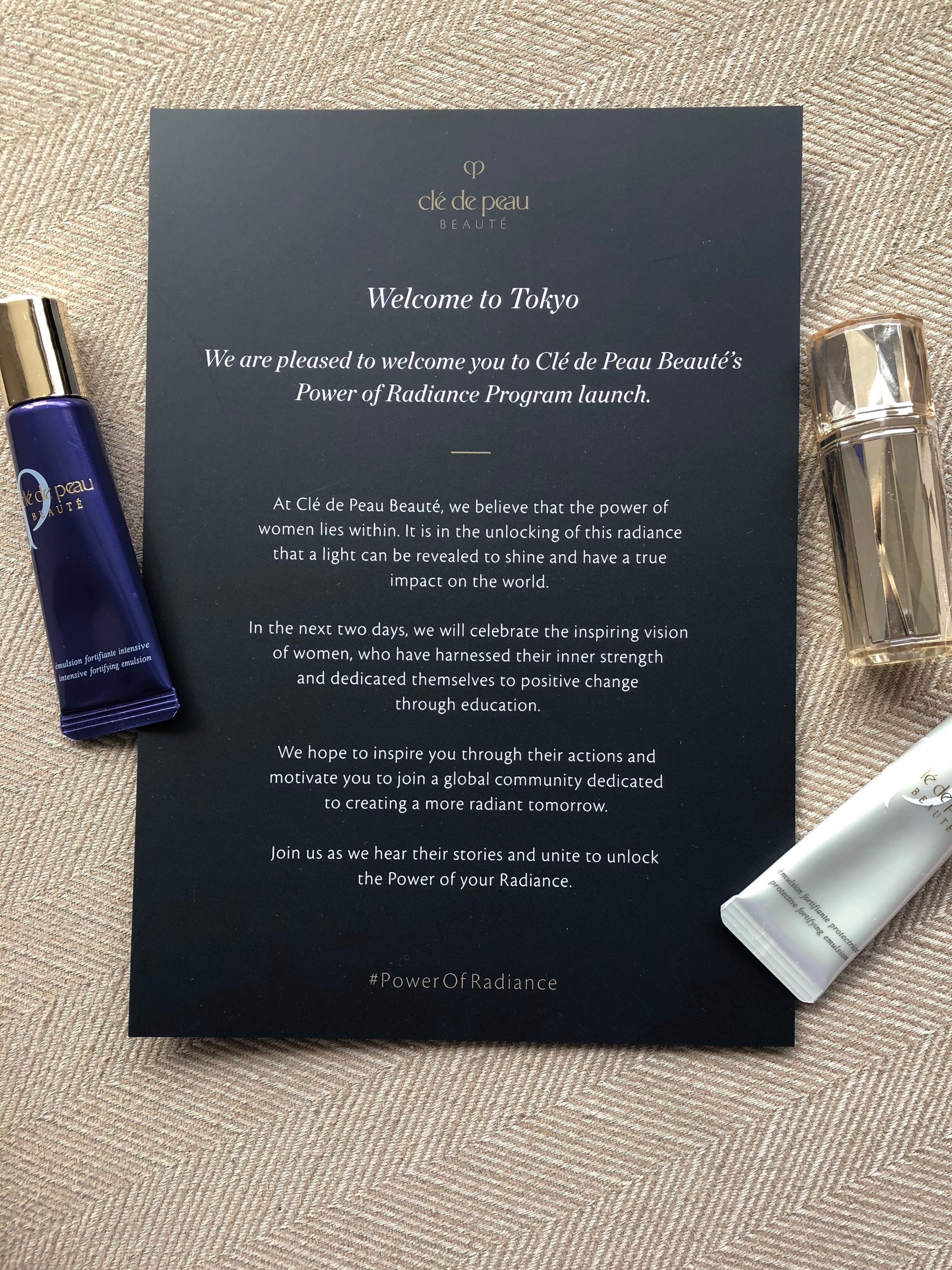 Travel minis of Carlene's skincare favourites from Clé de Peau, along with the event invite
