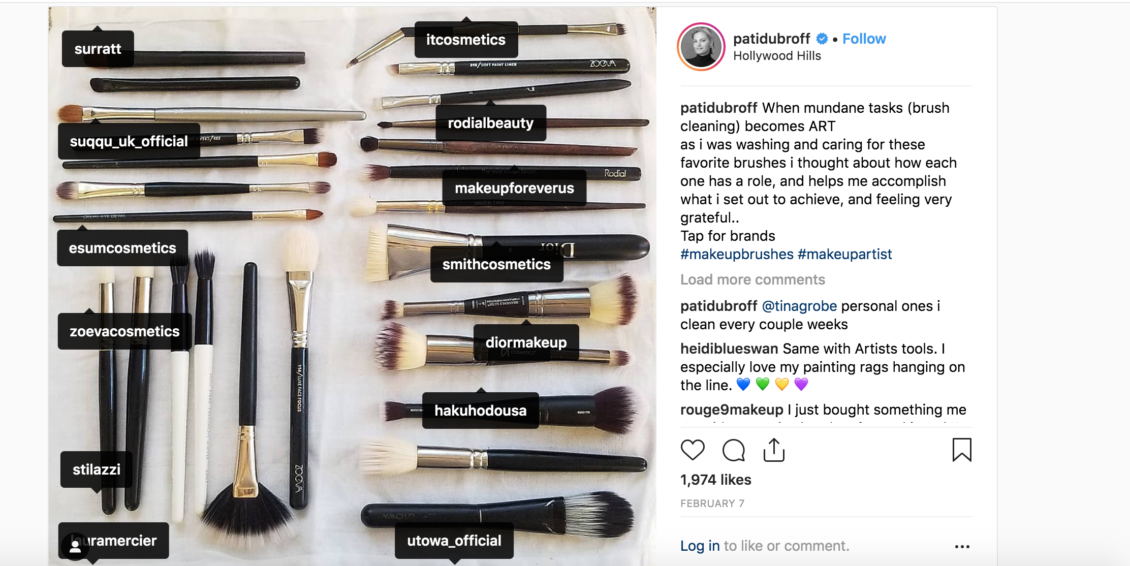 Pati often Instagrams her makeup brushes after a good cleaning