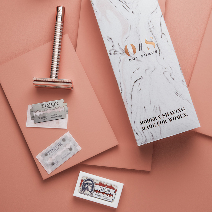 Oui Shave's Rose Gold Safety Razor wins on so many levels