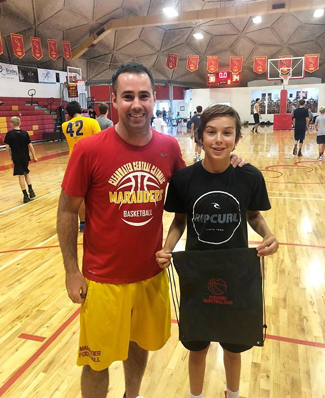 CAMPER OF THE DAY: Colby K. | For both weeks of camp Colby could probably have earned this award any of the days.  His consistent work ethic in every drill and at every station has enabled Colby to emerge as one of the best players in camp. 🏀 Congratulations, Colby! You earned it!