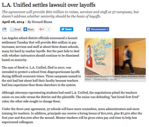 L.A. Unified Settles $60 Million Lawsuit Over Layoffs
