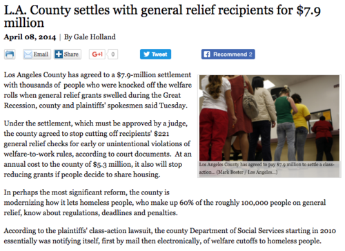 L.A. County Settles $7.9 Million for Thousands Illegally Kicked Off General Relief