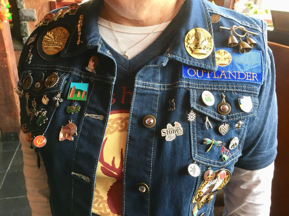 One woman's attire at the gathering outdid all others': her denim shirt was bedecked with dozens of pins and patches related specifically to this show and Scotland. Amazing.