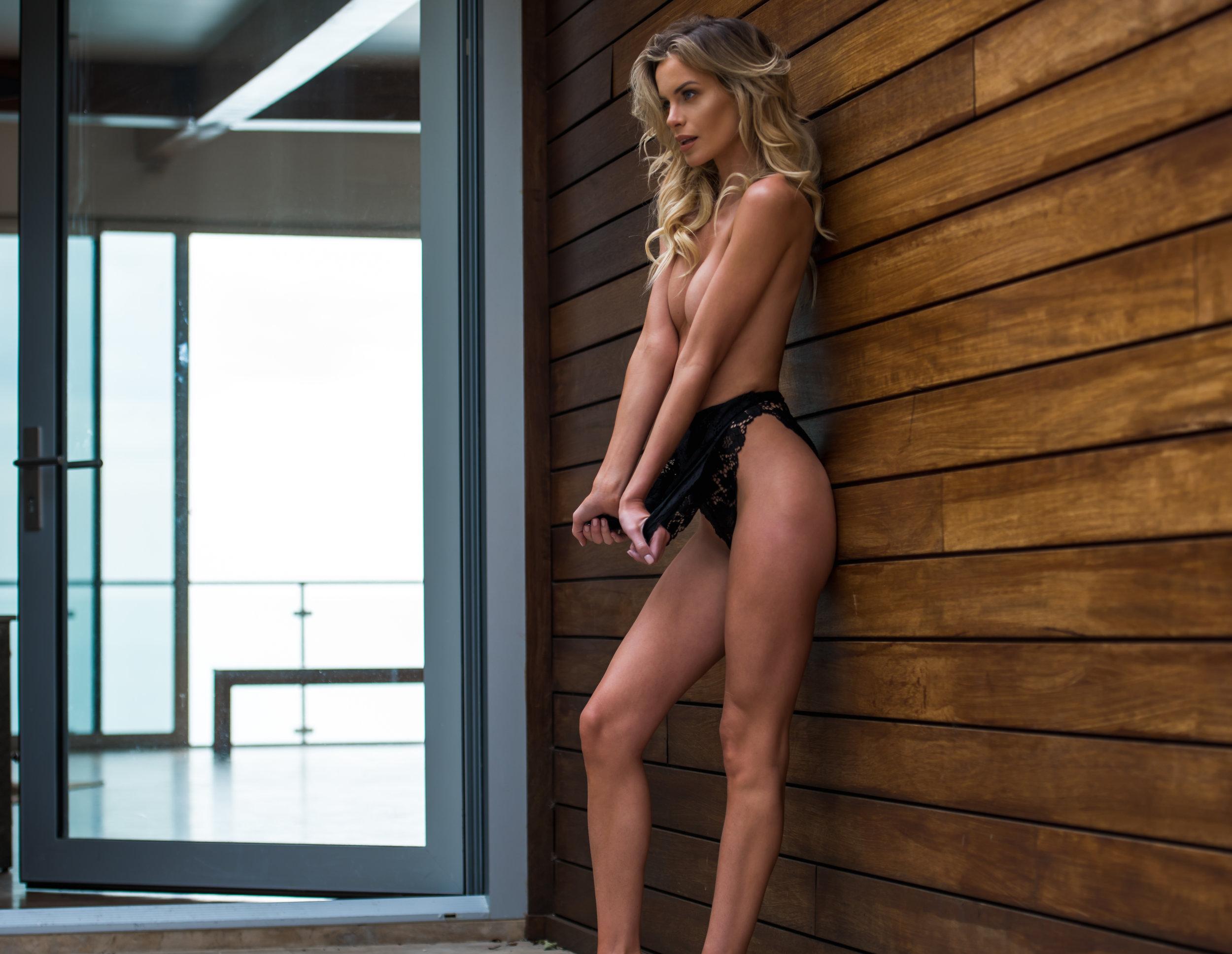 One Model Mission's Katy Johnson poses in Malibu Mansion