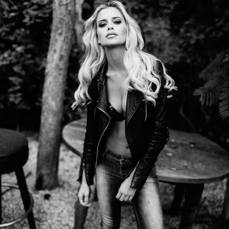 One Model Mission's Katy Johnson in black and white.