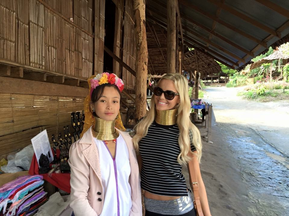 Travel Blogger Katy Johnson wears traditional Indonesian necklace.